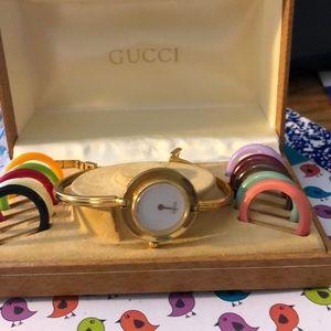 GUCCI Women's Watch 11/12.2 w/Box & Bezels MINTY